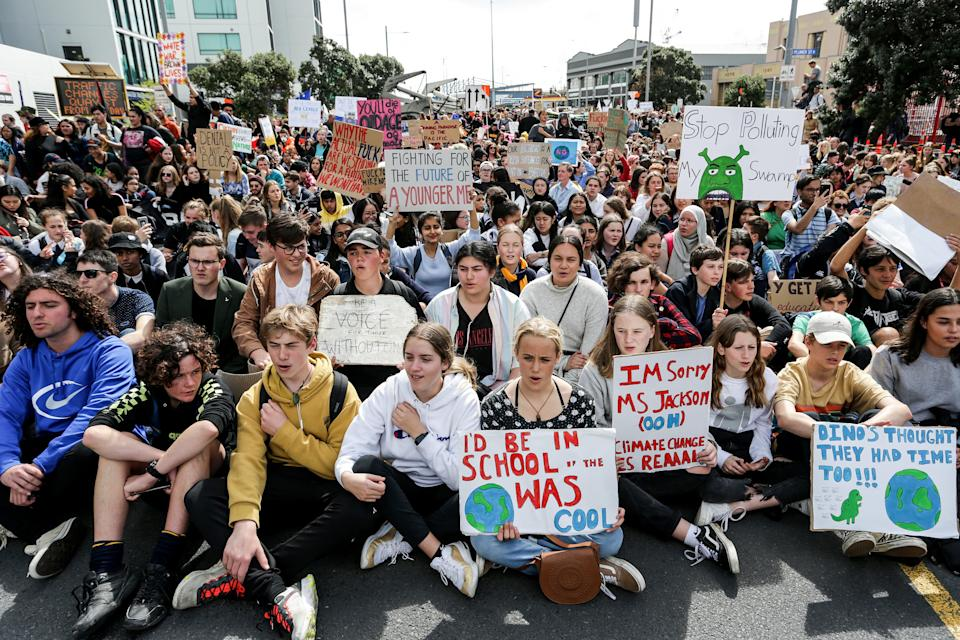 Climate change supporters march in Auckland on September 27, 2019 (Getty Images)