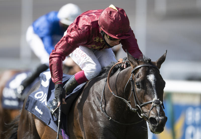 Kameko ridden Oisin Murphy approaches the finish line to win the Qipco 2000 Guineas Stakes. Can he do the double at the Investec Derby at Epsom