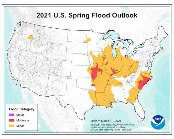 PHOTO: Areas where there a greater than 50% chance of moderate to minor flooding now though May are depicted on a map released by the National Oceanic and Atmospheric Administration. (NOAA)