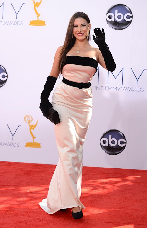 Mayra Veronica arrives at the 64th Primetime Emmy Awards at the Nokia Theatre in Los Angeles on September 23, 2012.