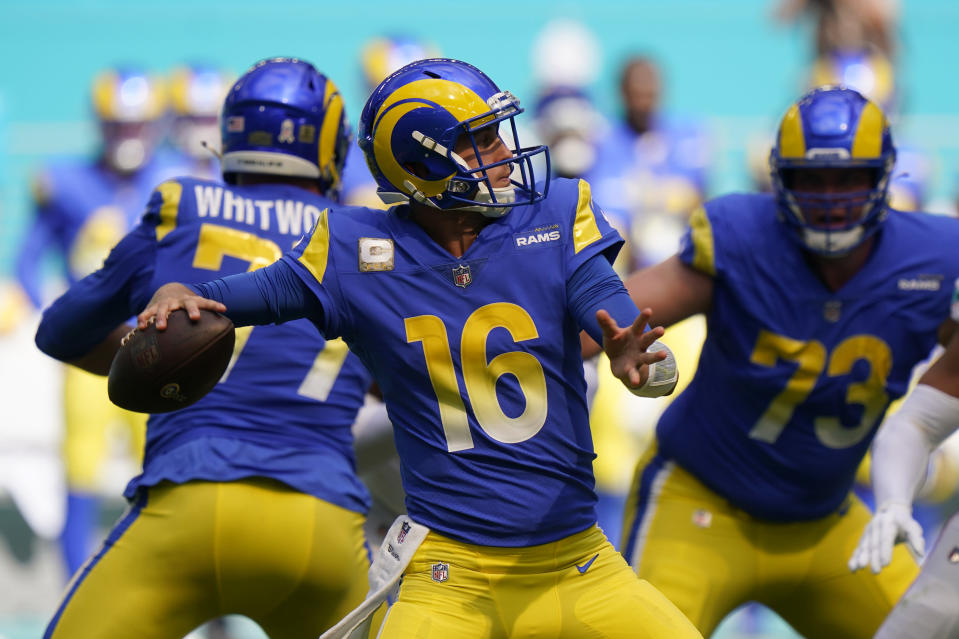 Los Angeles Rams quarterback Jared Goff (16) looks to pass during the first half of an NFL football game against the Miami Dolphins, Sunday, Nov. 1, 2020, in Miami Gardens, Fla. (AP Photo/Wilfredo Lee)