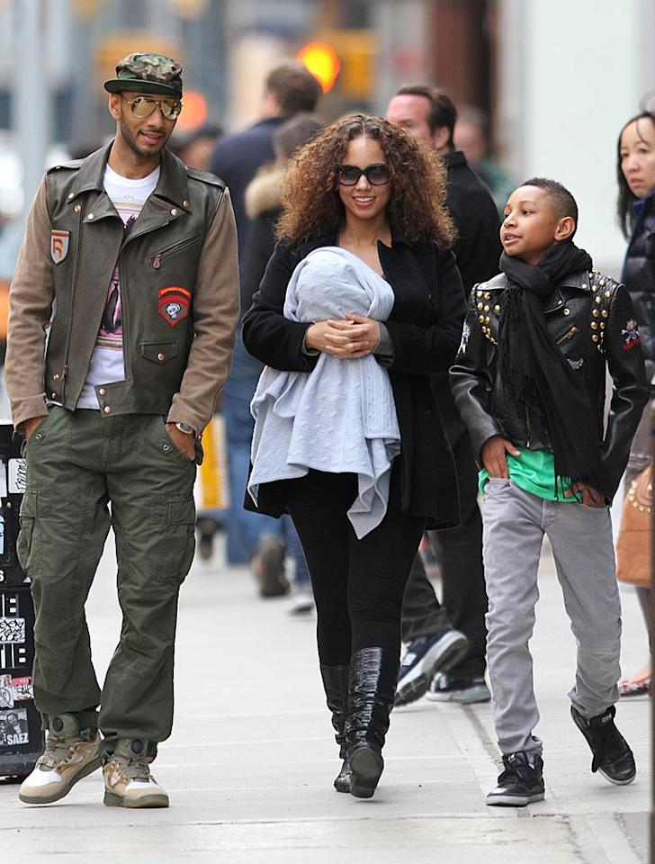 "On the East Coast, Alicia Keys kept her 5-month-old baby boy Egypt close while strolling along the streets of NYC with hubby Swiss Beats and his son Prince Nasir over the weekend. What a funky family! <a href=""http://www.infdaily.com"" target=""new"">INFDaily.com</a> - April 3, 2011"