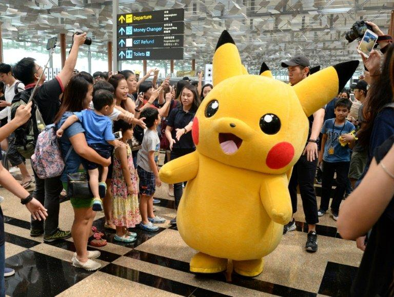 Mascot Pikachu of the Pokemon Go virtual reality game, which has become a worldwide sensation