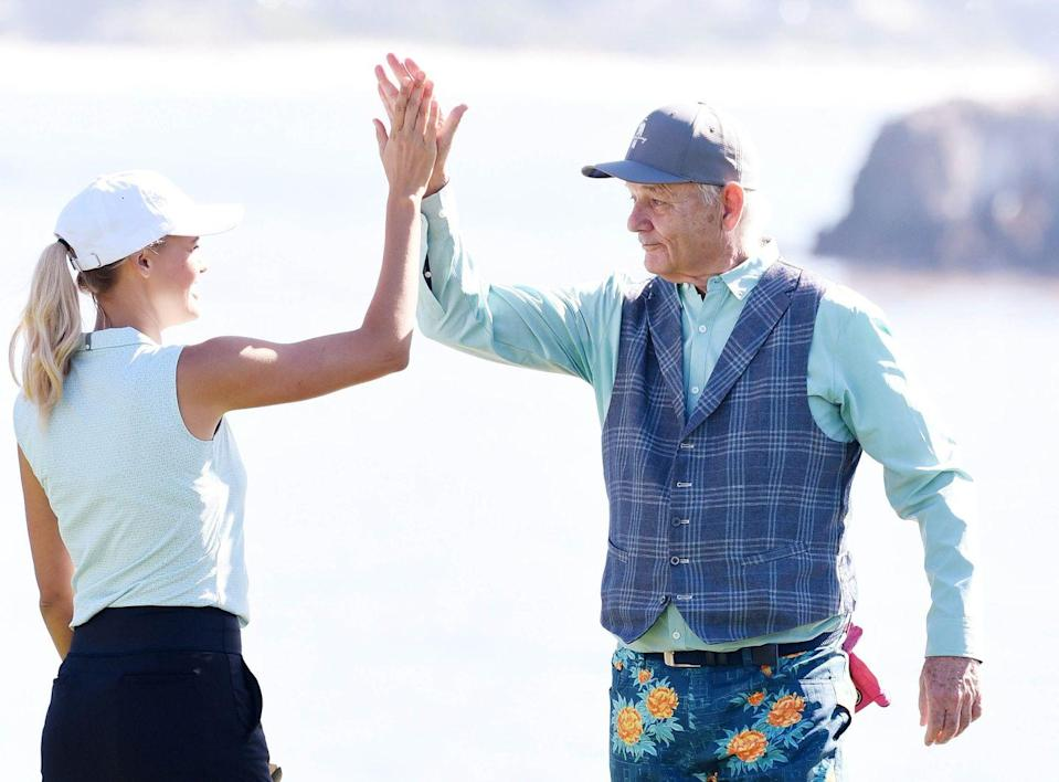 <p>Kelly Rohrbach and Bill Murray are seen during practice of the 3M Celebrity Challenge At The PGA Pebble Beach AT&T Pro AM at Pebble Beach Golf Links on February 7, 2018 in Pebble Beach, California.</p>