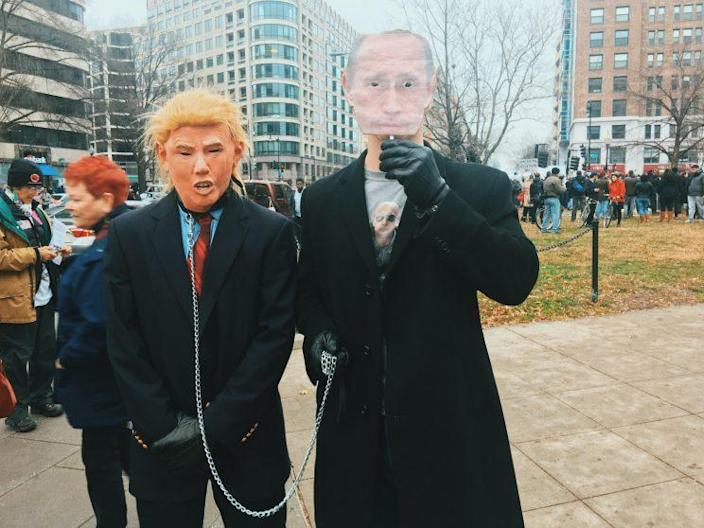 Andrew and Jacob Shiman at a protest against the inauguration of Donald Trump in Washington, D.C., on Jan. 20. (Photo: Hunter Walker/Yahoo News)