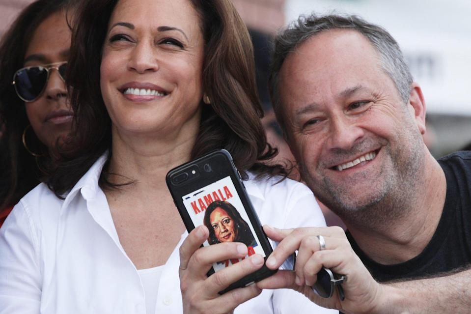 <p>Doug snapped a selfie while on the campaign trail in Iowa in August 2019. (Check out that Kamala phone case!)</p>