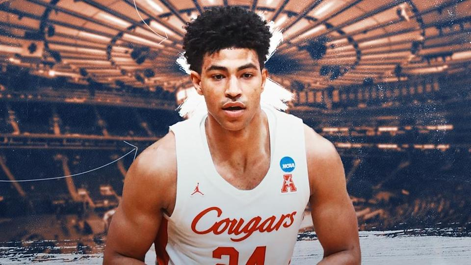 Quentin Grimes treated image, white Houston jersey