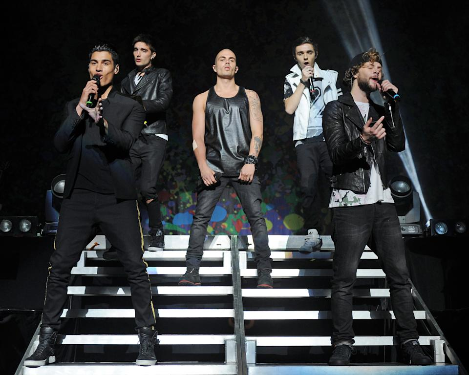 MIAMI BEACH, FL - MAY 09: Siva Kaneswaran, Tom Parker, Max George, Nathan Sykes and Jay McGuiness of The Wanted perform at Fillmore Miami Beach on May 9, 2014 in Miami Beach, Florida. (Photo by Larry Marano/Getty Images)