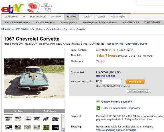 eBay Auction of Neil Armstrong's Corvette Ends, But Did It Sell?