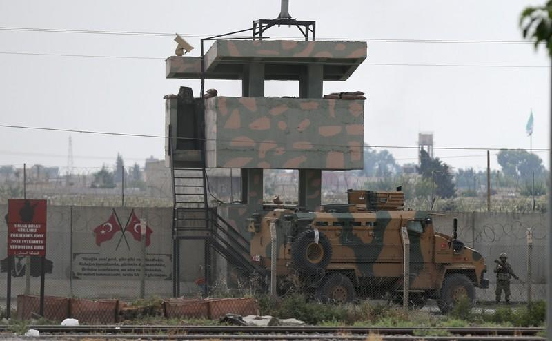 Turkish military vehicle is pictured in the Turkish-Syrian border town of Akcakale