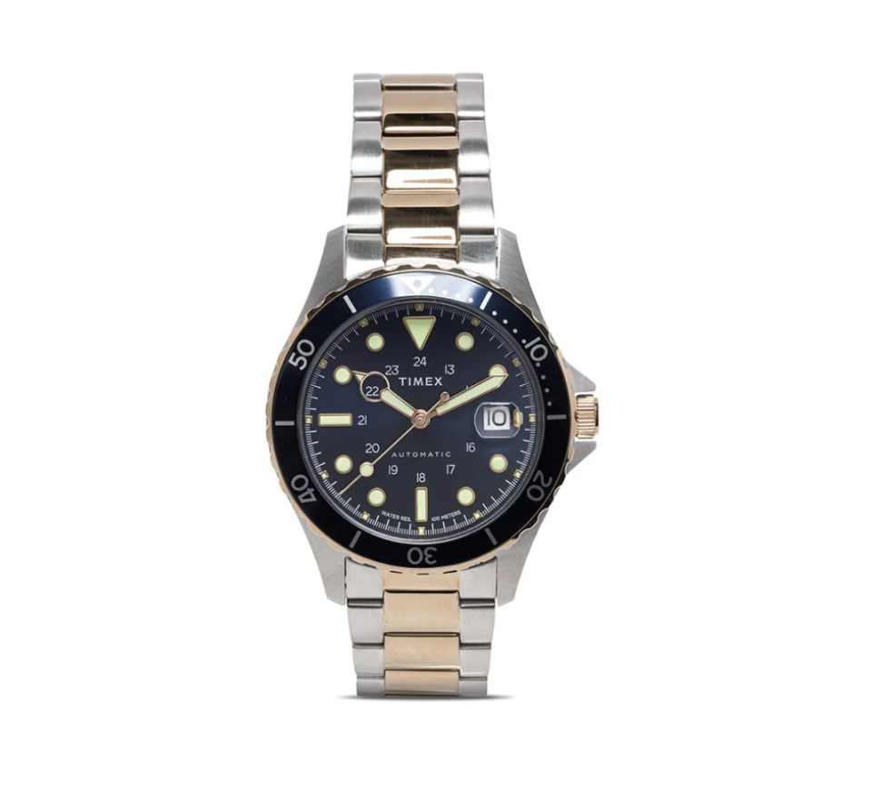 two-toned gold and silver Timex Navi XL Automatic 41mm watch with black face