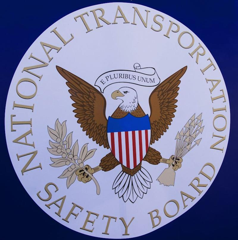 The NTSB logo is seen during a safety event for children at Trailside Middle School, in Ashburn, Virginia August 25, 2015. (Photo: PAUL J. RICHARDS/AFP/Getty Images)