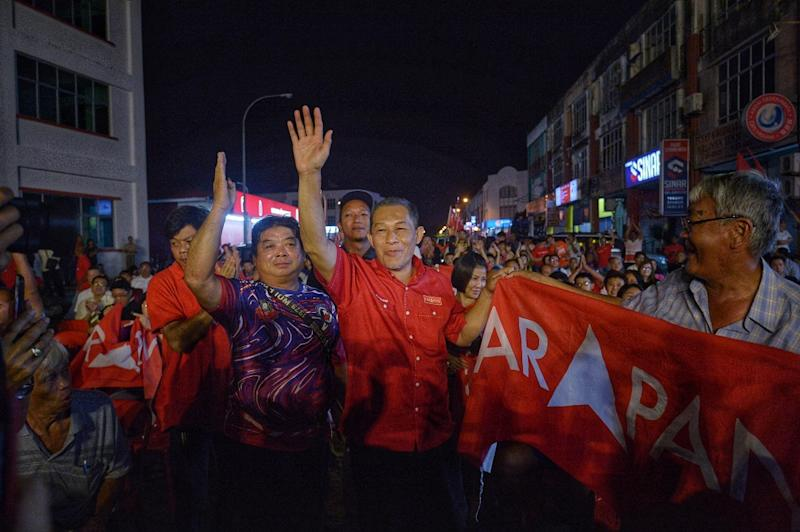 Pakatan Harapan candidate for the Tanjung Piai by-election Karmaine Sardini campaigning at Pontian industrial park in Pontian November 15, 2019. — Picture by Shafwan Zaidon