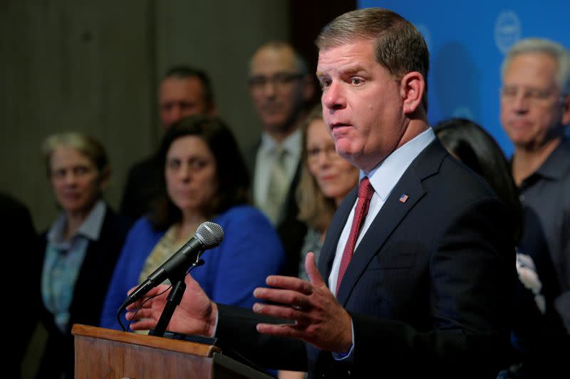 FILE PHOTO: Boston Mayor Walsh urges U.S. President Trump not to withdraw from the Paris Climate Accord during news conference in Boston