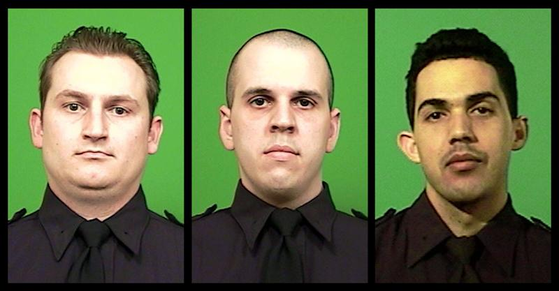 This combination of photos provided by the New York City Police Department shows officers, from left, Lukasz Kozicki, Michael Levay and Juan Pichardo. All three officers were shot within a one-hour span in two separate incidents on Thursday night, Jan. 3, 2013. Kozicki and Levay were shot when they confronted a man on a Manhattan-bound subway car in Brooklyn. Both officers survived the shooting, and Levay returned fire, killing the suspect. In a separate incident, officer Pichardo, who was working off-duty at his family's Bronx car dealership, was shot while disarming a man who was trying to rob the business. Pichardo survived the shooting and four suspects were arrested in the robbery attempt. (AP Photo/New York City Police Department)
