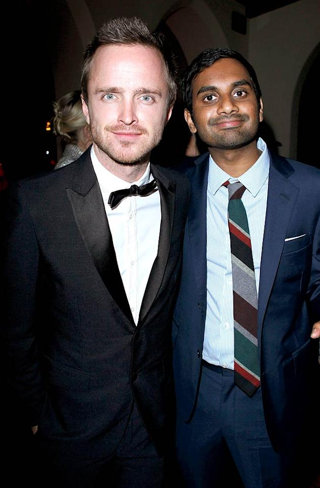 "Another AMC actor, ""Breaking Bad"" star Aaron Paul, posed with pal Aziz Ansari (""Parks and Recreation""). Aziz is such a big ""Breaking Bad"" fan, he dressed as Paul's character for Halloween. (11/17/2011)"