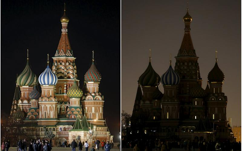 Earth Hour at St Basil's Cathedral in Moscow in 2015.
