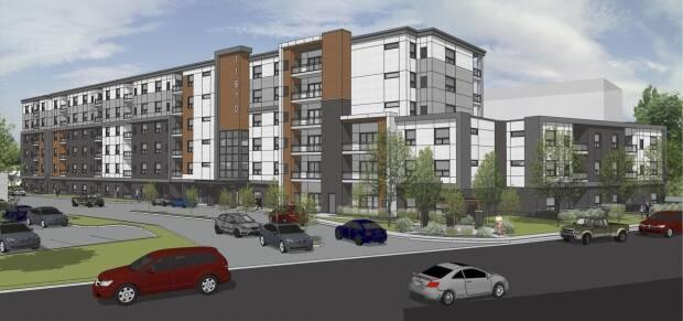 Renderings show the Tecumseh Gateway Towers now under construction at11870 Tecumseh Road East.  (Submitted by Peter Valente - image credit)