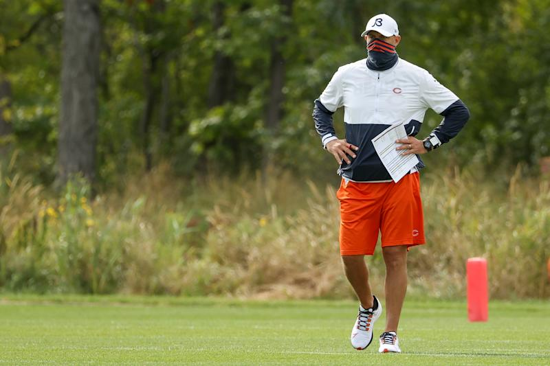 Bears head coach Matt Nagy has a lot riding on his starting quarterback decision. (Photo by Dylan Buell/Getty Images)