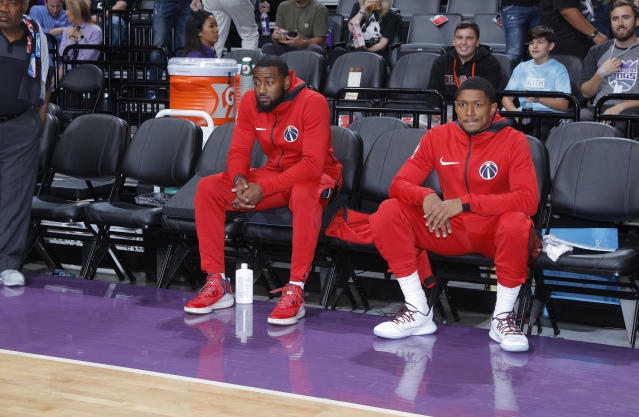 John Wall and Bradley Beal may find themselves on a new team sooner rather than later. (Photo by Rocky Widner/NBAE via Getty Images)