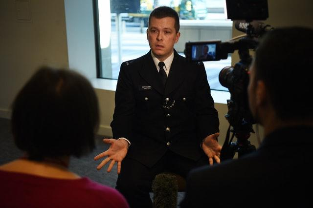 Pc Stuart Outten speaking to the media at New Scotland Yard in London