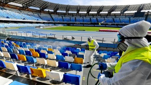 Napoli's San Paolo Stadium is disinfected on March 4