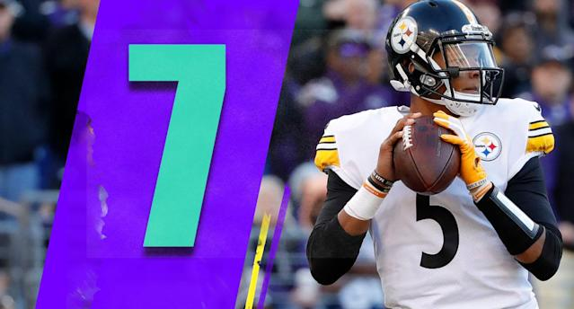 <p>If the Steelers end up winning the AFC North, Joshua Dobbs' contribution should be properly noted. When Ben Roethlisberger got the wind knocked out of him, Dobbs came into a terrible situation: second-and-20 at their own 5-yard line, with the Ravens trailing by only a touchdown in the fourth quarter. And Dobbs was cold off the bench against a good defense. Dobbs calmly hit JuJu Smith-Schuster for 22 yards and an enormous first down, then Roethlisberger came back in. The Steelers kicked a field goal at the end of that drive, and ended up holding off the Ravens. That's one heck of a clutch play by Dobbs. (Joshua Hobbs) </p>