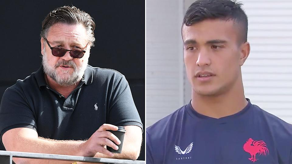 Pictured here, Souths co-owner Russell Crowe and Roosters recruit Joseph Suaalii on the right.