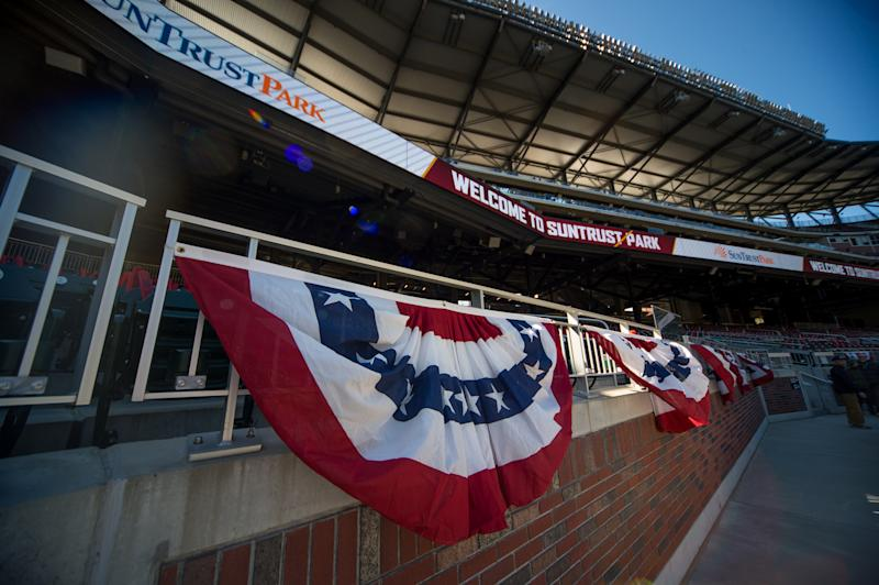 ATLANTA, GA - APRIL 01: Red, white and blue bunting hanging in SunTrust Park before the MLB opening day game between the Atlanta Braves and the Chicago Cubs on April 1, 2019 at SunTrust Park in Atlanta. GA. (Photo by John Adams/Icon Sportswire via Getty Images)