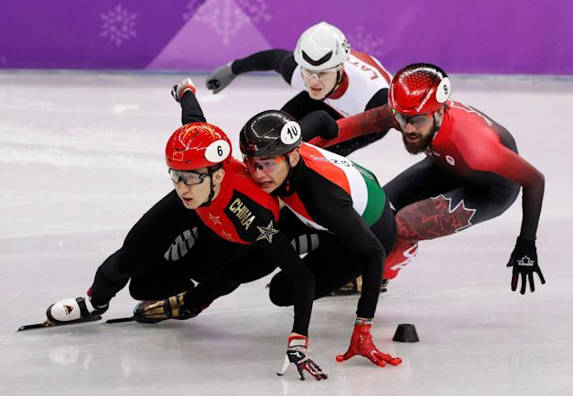 "Short Track Speed Skating Events - Pyeongchang 2018 Winter Olympics - Men's 1000m Quarterfinal - Gangneung Ice Arena - Gangneung, South Korea - February 17, 2018 - Wu Dajing of China leads. REUTERS/John Sibley SEARCH ""OLYMPICS BEST"" FOR ALL PICTURES. TPX IMAGES OF THE DAY."