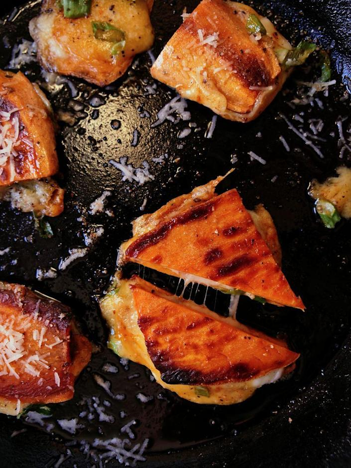 """<p>If you're gluten-free or trying to eat more veggies, this recipe is right up your alley. </p><p><strong><em>Get the recipe at <a href=""""https://www.delish.com/cooking/recipe-ideas/a35971563/sweet-potato-grilled-cheese-recipe/"""" rel=""""nofollow noopener"""" target=""""_blank"""" data-ylk=""""slk:Delish."""" class=""""link rapid-noclick-resp"""">Delish.</a></em></strong></p>"""