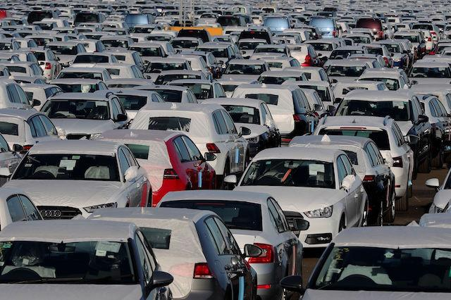 File photo dated 05/01/17 of new cars in a compound near Sheerness in Kent as as new car sales reached a 12-year high in January, according to an industry trade association.