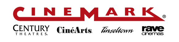 Cinemark's corporate logo, incorporating the banners of subsidiaries Century Theatres, CineArts, Tinseltown, and Rave Cinemas.