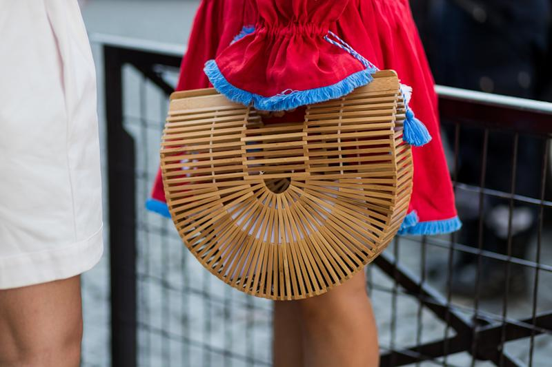 PARIS, FRANCE - JULY 04: A guest wearing a Gaias ark bag by Cult Gaia outside Ulyana Sergeenko during Paris Fashion Week - Haute Couture Fall/Winter 2017-2018 : Day Three on July 4, 2017 in Paris, France. (Photo by Christian Vierig/Getty Images)
