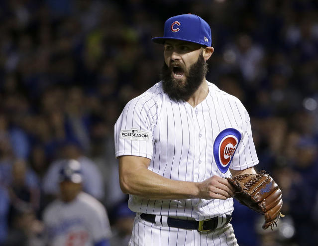 "This is the <a class=""link rapid-noclick-resp"" href=""/mlb/players/8623/"" data-ylk=""slk:Jake Arrieta"">Jake Arrieta</a> that baseball has come to know and love. (AP Photo/Nam Y. Huh)"