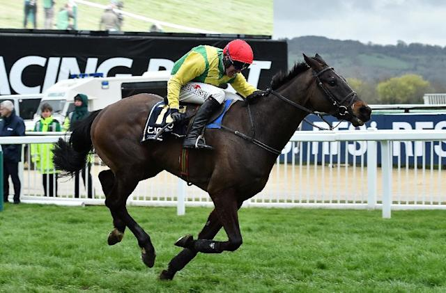 Jockey Robbie Power rides Sizing John to Gold Cup victory on the final day of the Cheltenham Festival meeting at Cheltenham Racecourse in Gloucestershire, south-west England, on March 17, 2017 (AFP Photo/Glyn KIRK )