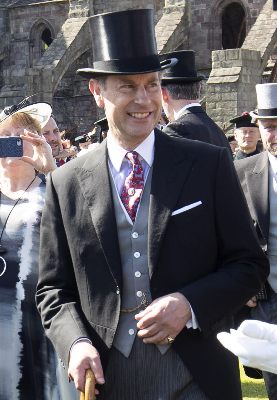 EDINBURGH, SCOTLAND - JULY 03: Prince Edward, Earl of Forfar attends a garden party hosted by Queen Elizabeth II at The Palace Of Holyroodhouse on July 3, 2019 in Edinburgh, Scotland. (Photo by Jane Barlow - WPA Pool/Getty Images)