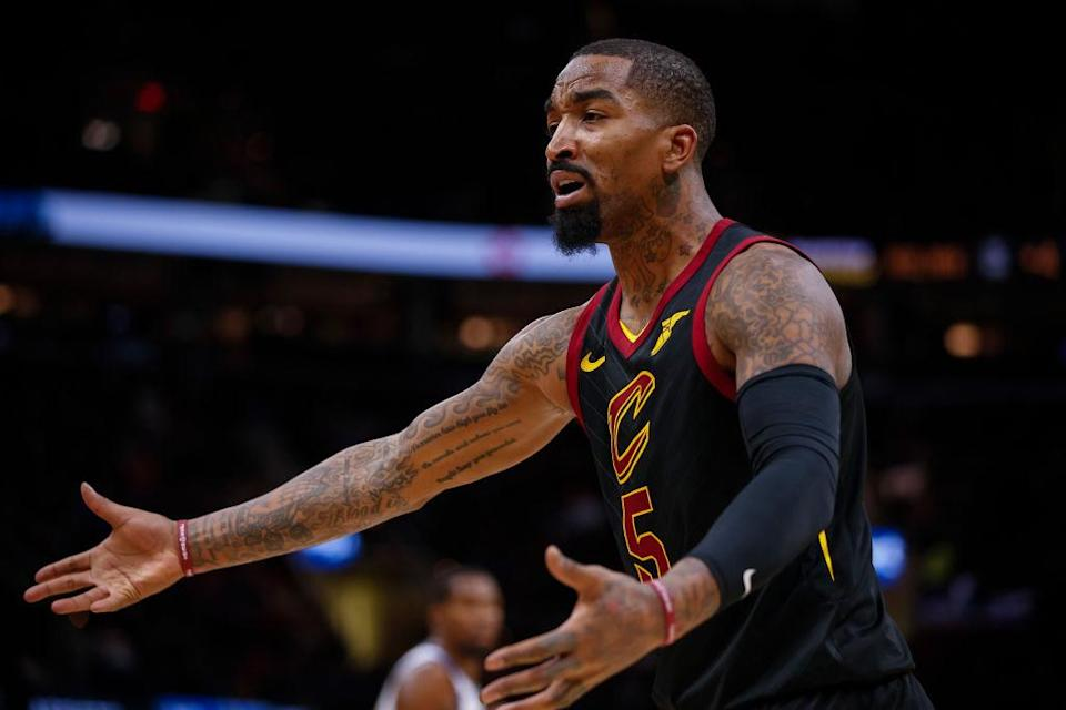 J.R. Smith just wants you to show him where, specifically, the rules say that you can't throw a bowl of soup at someone. SPECIFICALLY. (Getty)