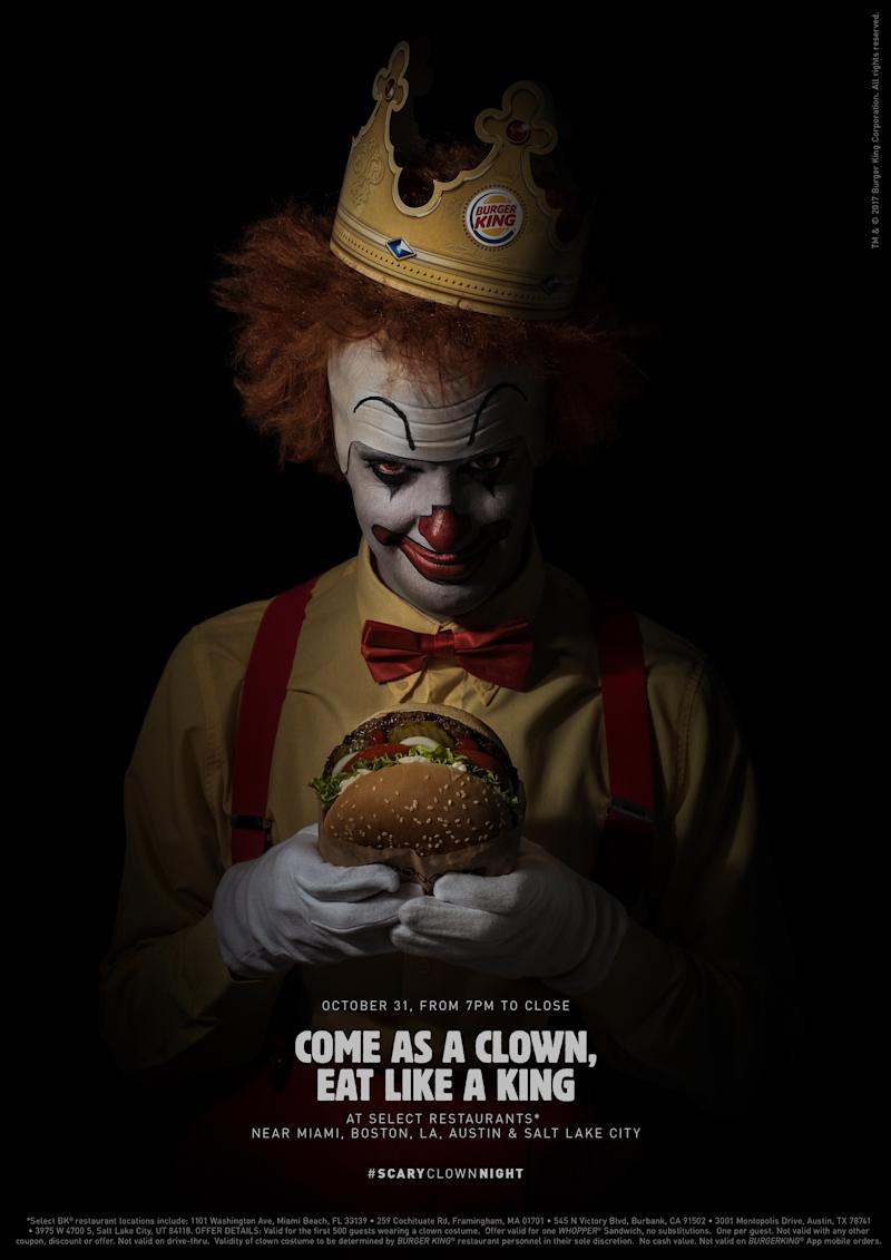 Select Burger King restaurants will hand out free Whopper sandwiches to up to 2,500 people dressed like clowns this Halloween.