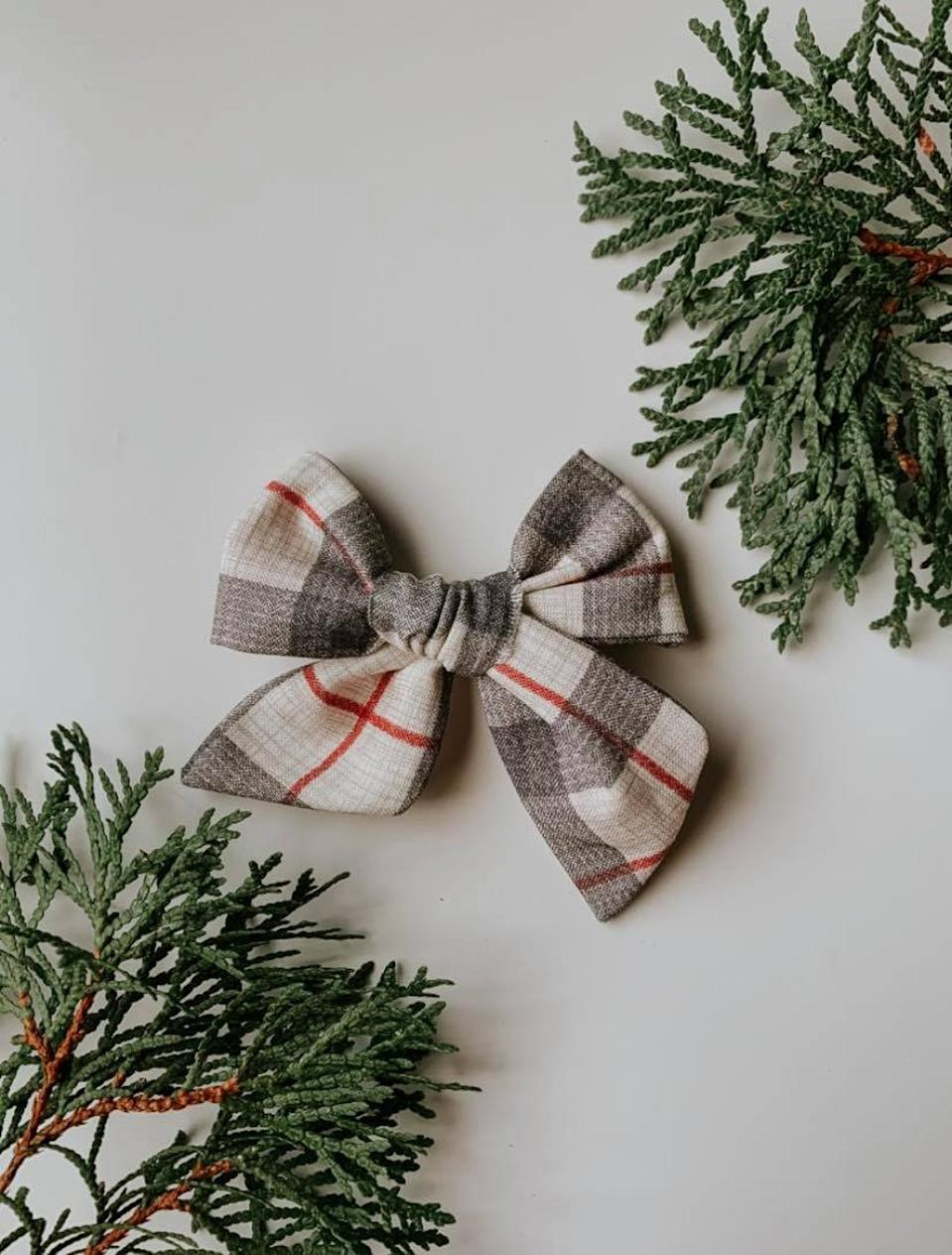 Sleigh Ride Bow by Wild Ivy Bows, from $3.50.