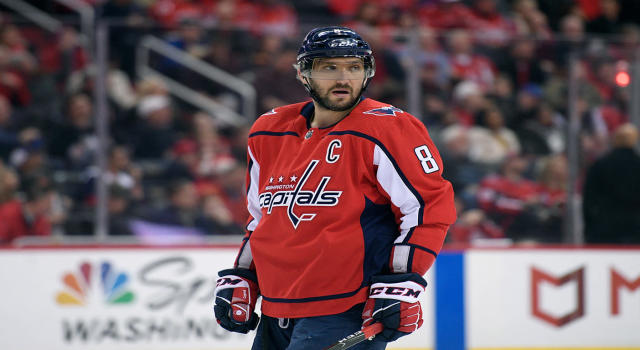 "<a class=""link rapid-noclick-resp"" href=""/nhl/players/3637/"" data-ylk=""slk:Alex Ovechkin"">Alex Ovechkin</a> guarantees that the Capitals go back to Washington tied for game five. (AP Photo/Nick Wass)"