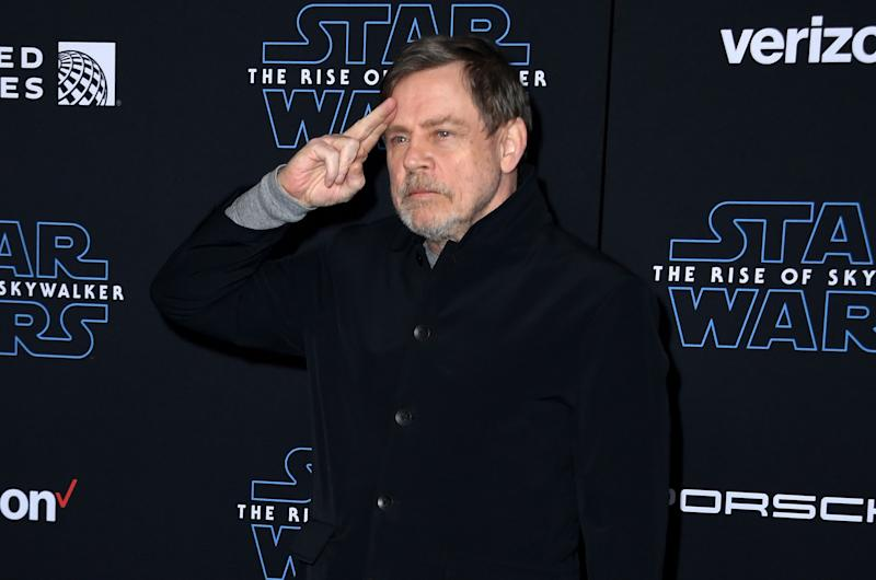 "US actor Mark Hamill arrives for the world premiere of Disney's ""Star Wars: Rise of Skywalker"" at the TCL Chinese Theatre in Hollywood, California on December 16, 2019. (Photo by VALERIE MACON / AFP) (Photo by VALERIE MACON/AFP via Getty Images)"