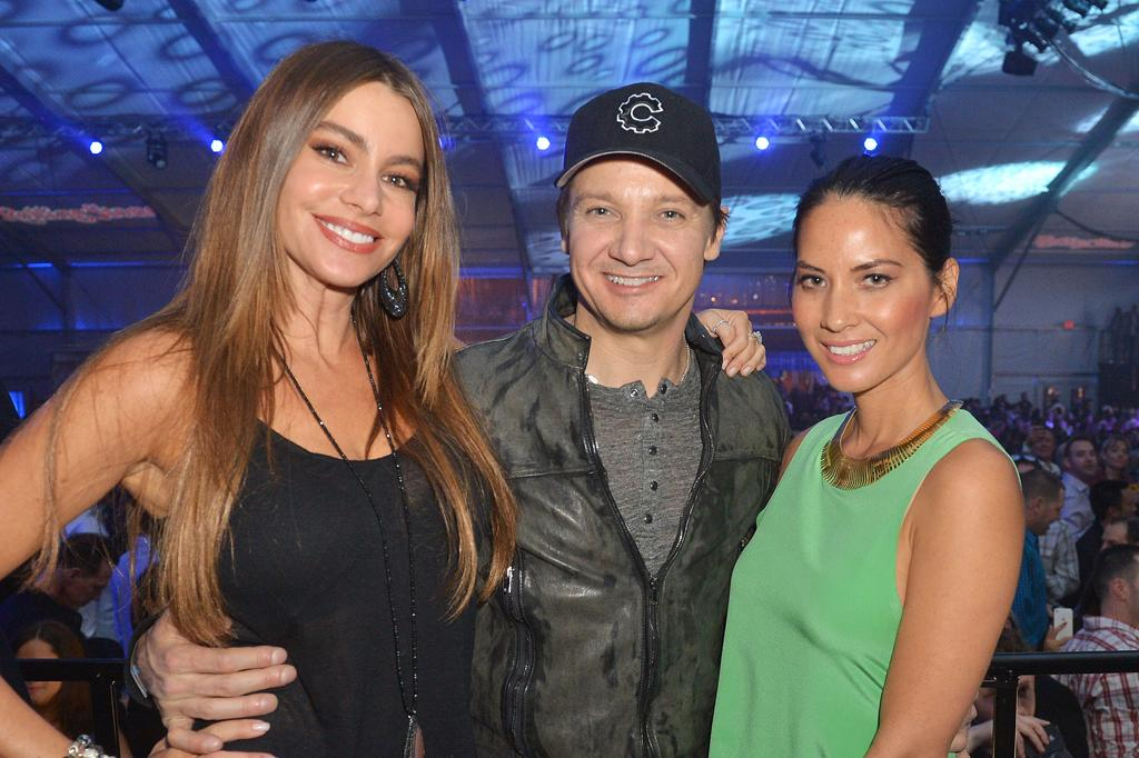 NEW ORLEANS, LA - FEBRUARY 01:  (L-R) Actors Sofia Vergara, Jeremy Renner, and Olivia Munn attend the Rolling Stone LIVE party held at the Bud Light Hotel on February 1, 2013 in New Orleans, Louisiana.  (Photo by Gustavo Caballero/Getty Images for Rolling Stone)