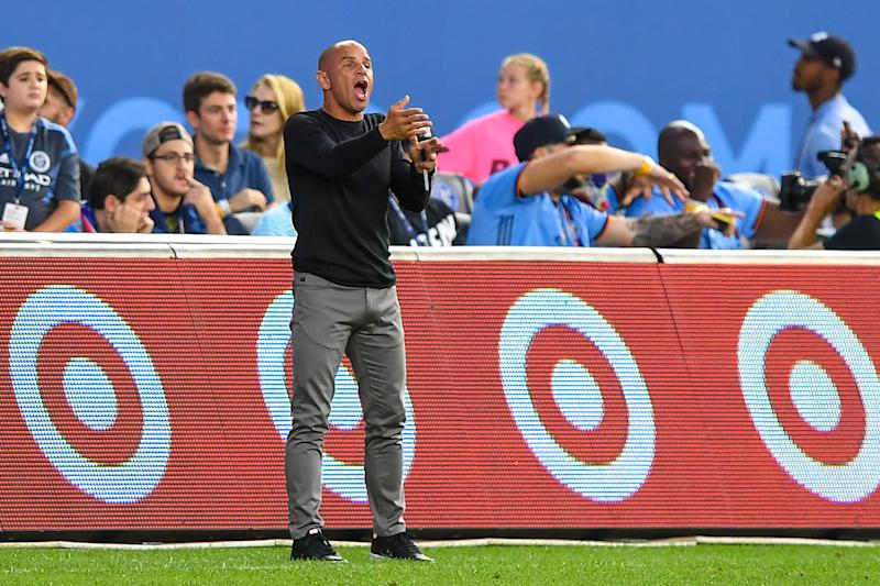 Aug 24, 2019; New York, NY, USA; New York Red Bulls Head Coach Chris Armas reacts during the first half against the New York City FC at Yankee Stadium. Mandatory Credit: Dennis Schneidler-USA TODAY Sports