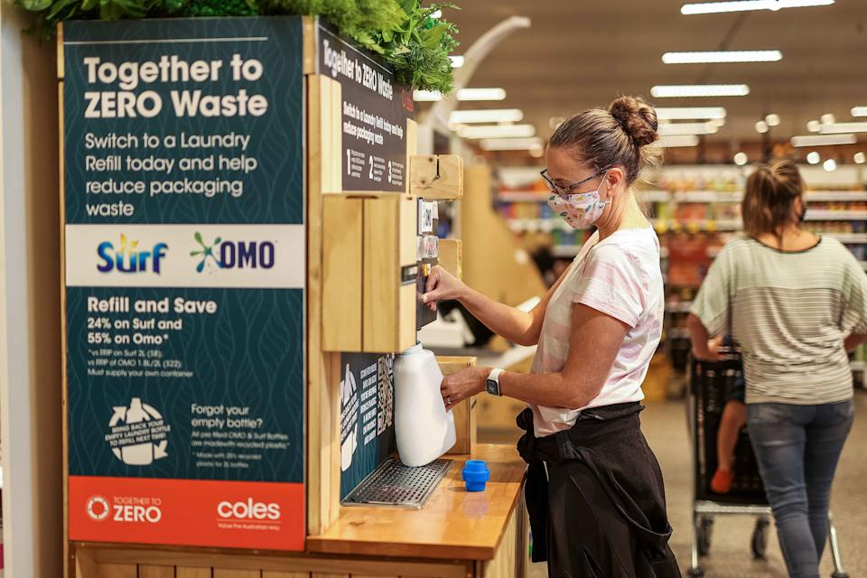 Coles packageless Surf and Omo refill station.