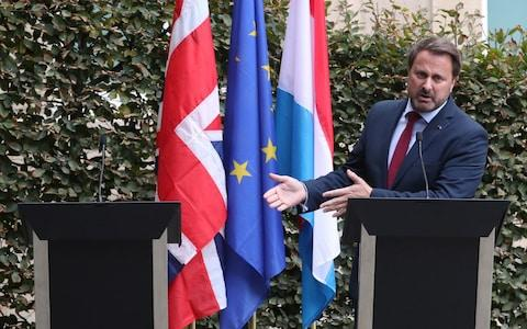 <span>Luxembourg's Prime Minister Xavier Bettel gestures during a news conference after his meeting with British Prime Minister Boris Johnson in Luxembourg</span> <span>Credit: YVES HERMAN/REUTERS </span>