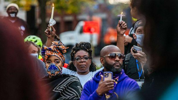 PHOTO: Demonstrators hold a candlelight vigil at the Breonna Taylor memorial at Jefferson Square Park in Louisville, Ky., Oct. 3, 2020. Jefferson Square Park remains the epicenter for Black Lives Matter protests following the killing of Breonna Taylor. (Jon Cherry/Getty Images)