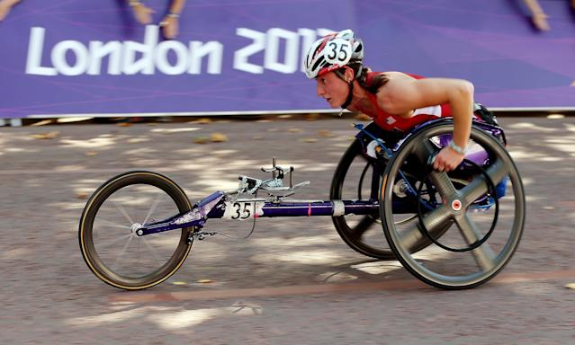 LONDON, ENGLAND - SEPTEMBER 09: Tatyana McFadden of United States in action during the T54 Women's Marathon on day 11 of the London 2012 Paralympic Games on The Mall on September 9, 2012 in London, England. (Photo by Scott Heavey/Getty Images)