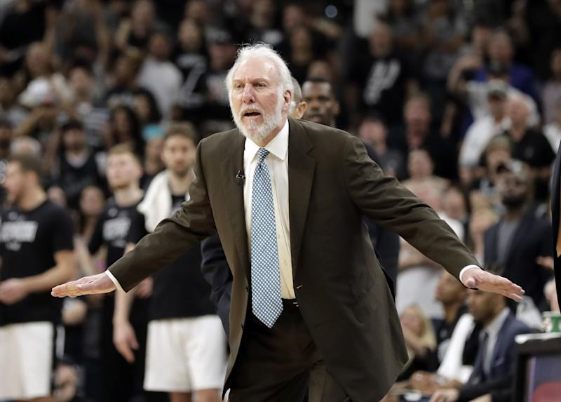 'All I care about is Kawhi's not there,' Spurs coach Gregg Popovich said Monday.