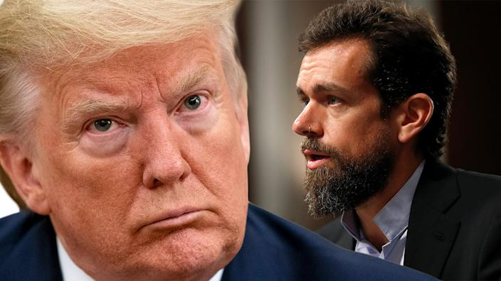 President Donald Trump and Twitter CEO Jack Dorsey. (Photo illustration: Yahoo News; photos: AP, Joshua Roberts/Reuters)